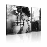 Schilderij - Elegante vrouw in retro-stijl , zwart wit , 3 luik , 2 maten