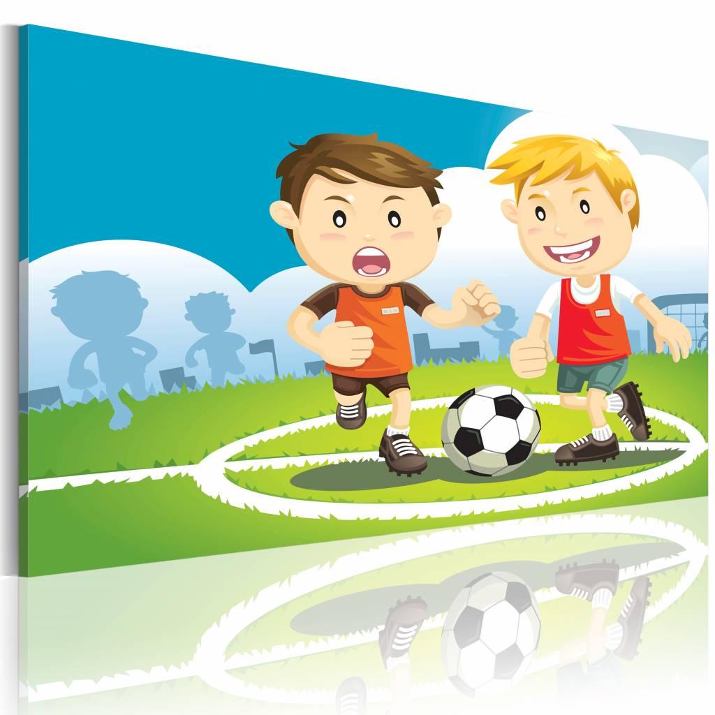 Schilderij - Speel voetbal met ons, Multi-gekleurd, 2 Maten, 1luik