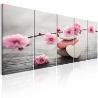 Schilderij - Roze Stenen - Bloesem , wit roze , 5 luik