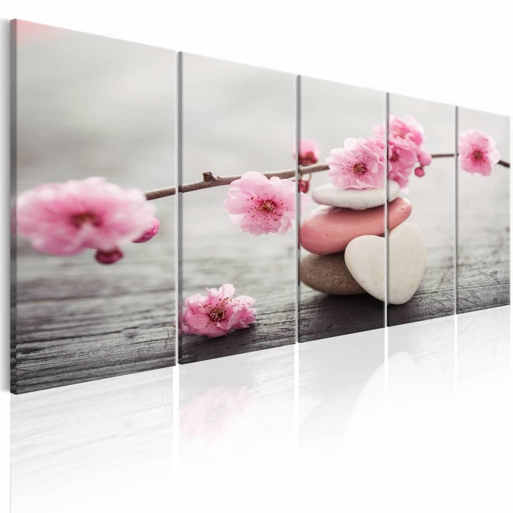 Schilderij - Roze Stenen - Bloesem , wit roze , 5 luik , 2 maten