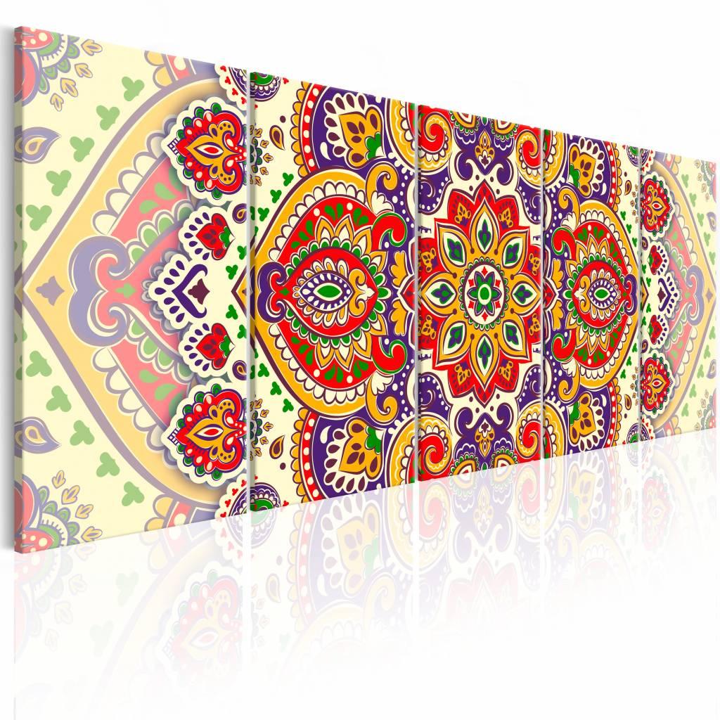 Schilderij - Mandala , multi kleur , 5 luik - 200x80 cm