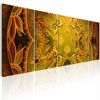 Schilderij - Mandala:  geel oranje , 5 luik