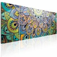 Schilderij - Mandala: Pauwen veren , multi kleur , 5 luik
