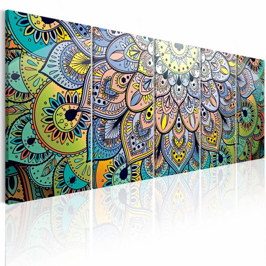 Schilderij - Mandala: Pauwen veren , multi kleur , 5 luik - 200x80 cm