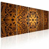 Schilderij - Oranje Mandala , oranje , 5 luik