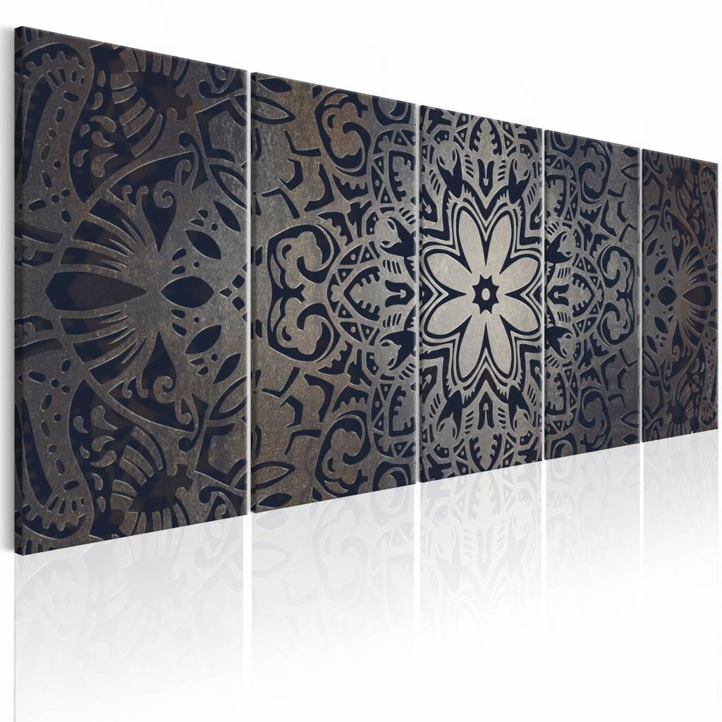 Schilderij - Graphite Mandala , grijs , 5 luik , 2 maten
