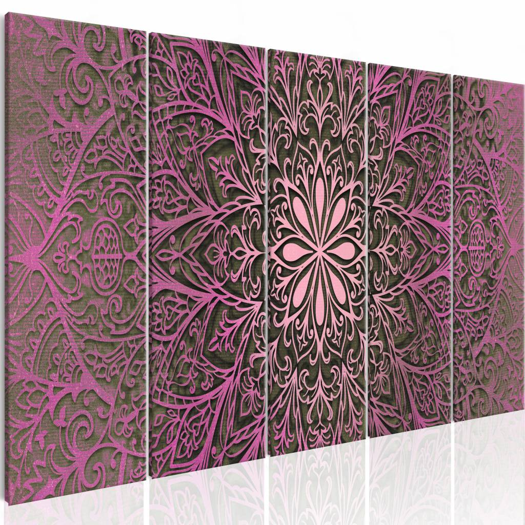 Schilderij - Roze Mandala , roze , 5 luik - 200x80 cm