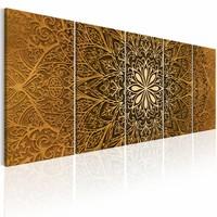 Schilderij - Papier Mandala , bruin , 5 luik