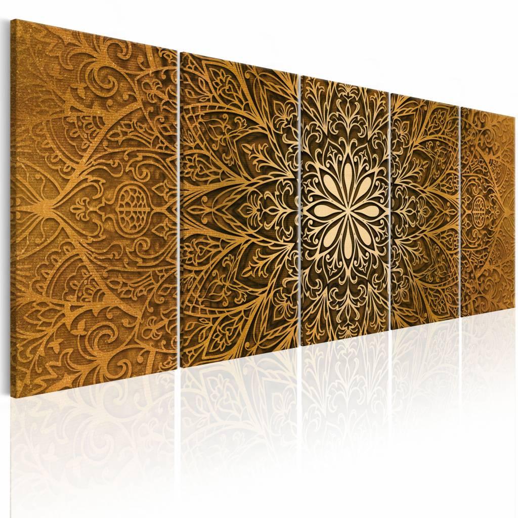 Schilderij - Papier Mandala , bruin , 5 luik - 200x80 cm