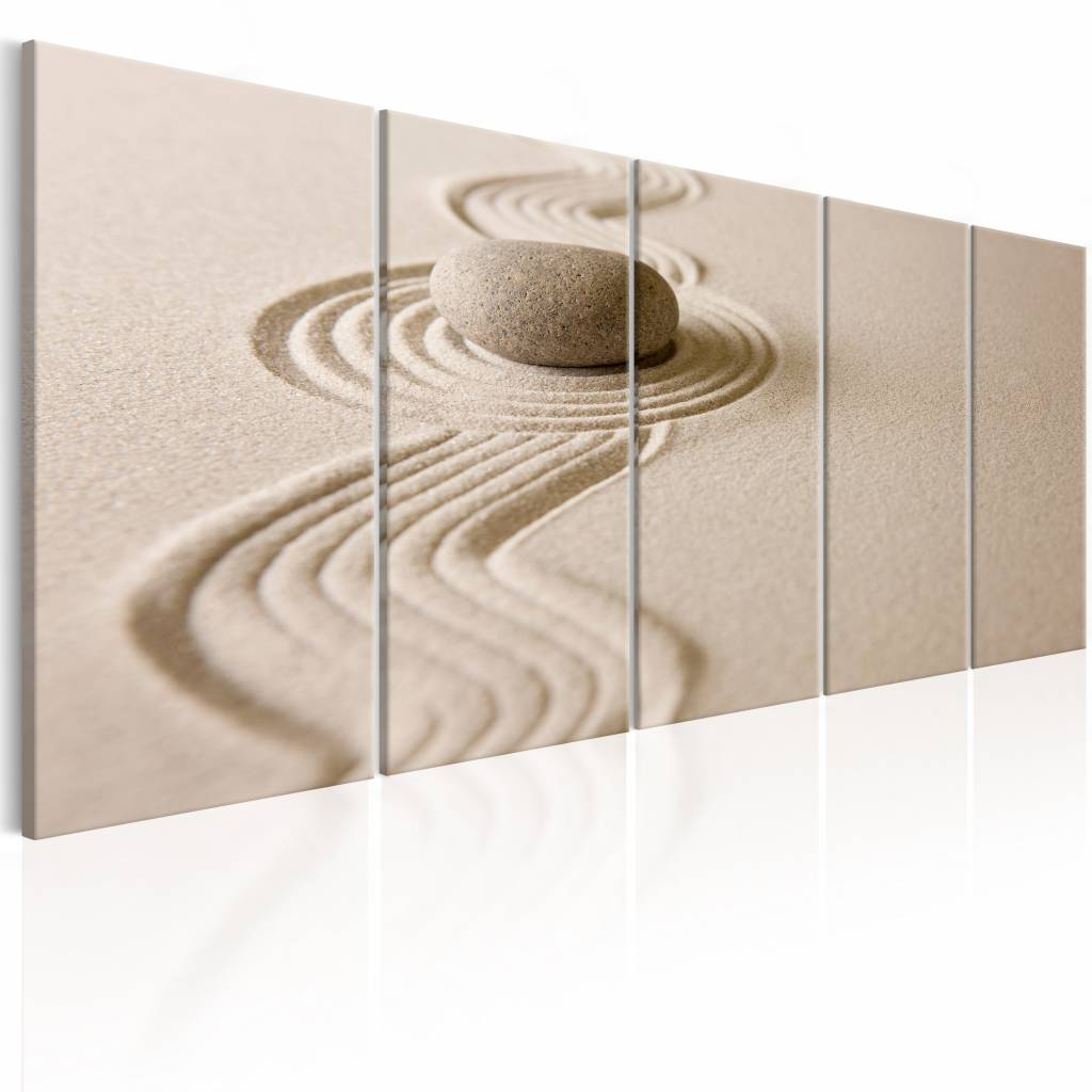 Schilderij - Zand en steen , beige , 5 luik - 225x90 cm