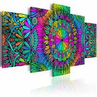 Schilderij - Mandala: Peacock Feathers , pauwen veren , multi kleur ,  5 luik , 2 maten