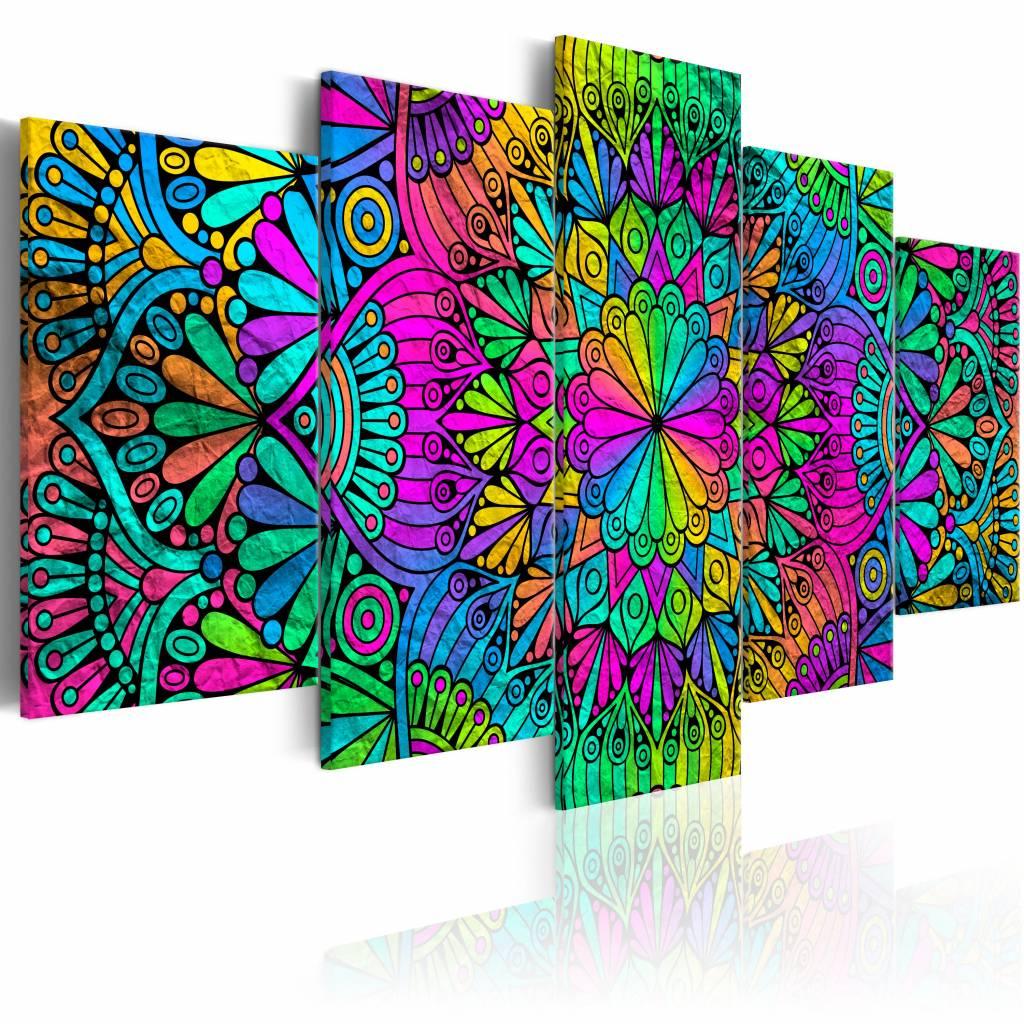 Schilderij - Mandala: Pauwen veren , multi kleur ,  5 luik - 200x100 cm