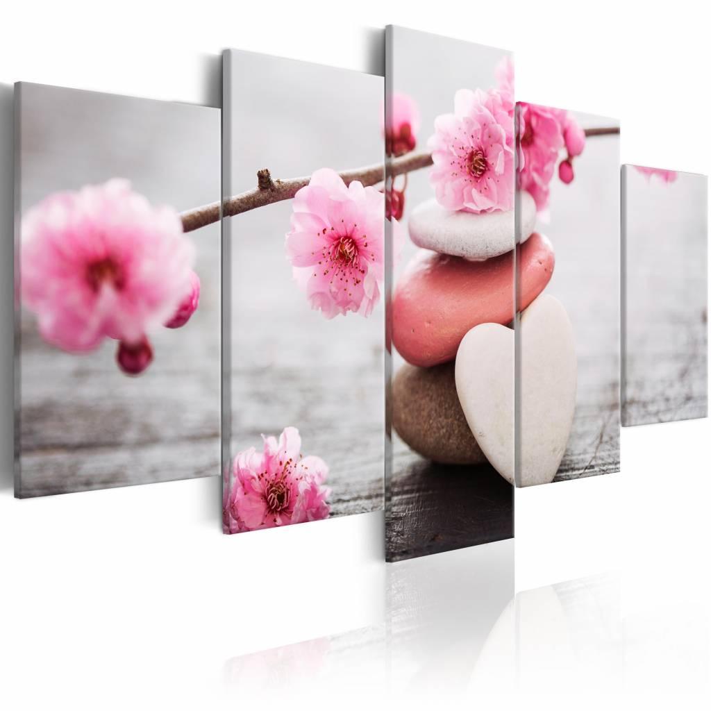 Schilderij - Zen: Cherry Blossoms III , stenen en bloemen , grijs roze , 5 luik , 2 maten