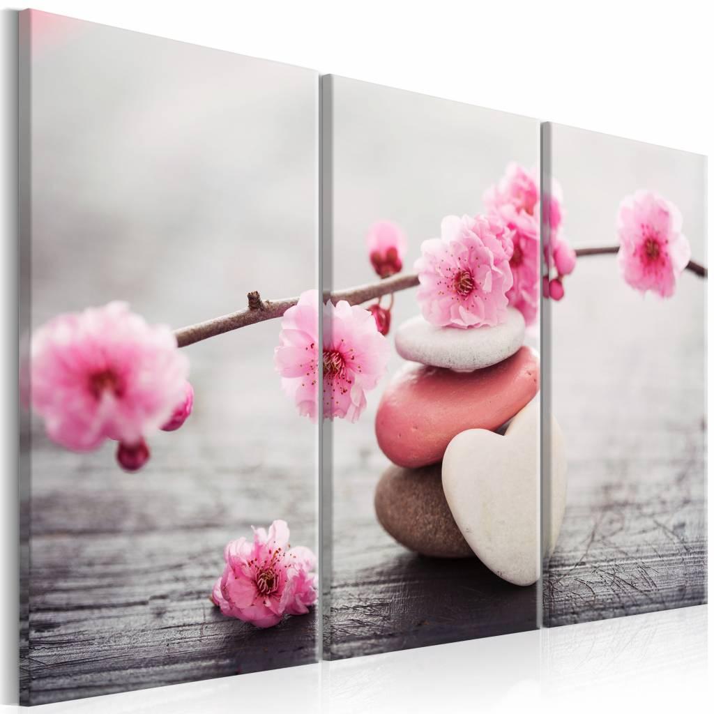 Schilderij - Zen: Cherry Blossoms II , stenen en bloemen , roze grijs , 3 luik , 2 maten