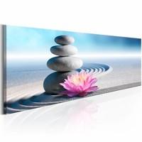 Schilderij - Zen Garden , stenen bloem , grijs roze , 1 luik , 150x50