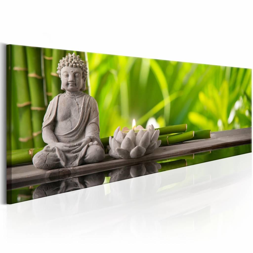 Schilderij - Buddha: Meditation , boeddha , grijs groen , 1 luik , 150x50