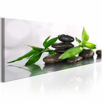 Schilderij - stenen bamboe , groen wit , 1 luik ,   150x50cm