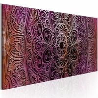Canvas Schilderij - Mandala: Amethyst Energy , paars oranje , 1 luik , 3 maten