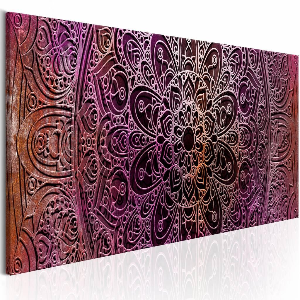 Schilderij - Mandala: Amethyst Energy , paars oranje , 1 luik , 3 maten