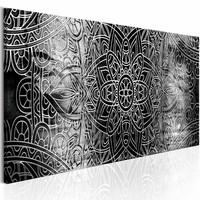 Schilderij - Mandala: Grey Depths , grijs , 1 luik