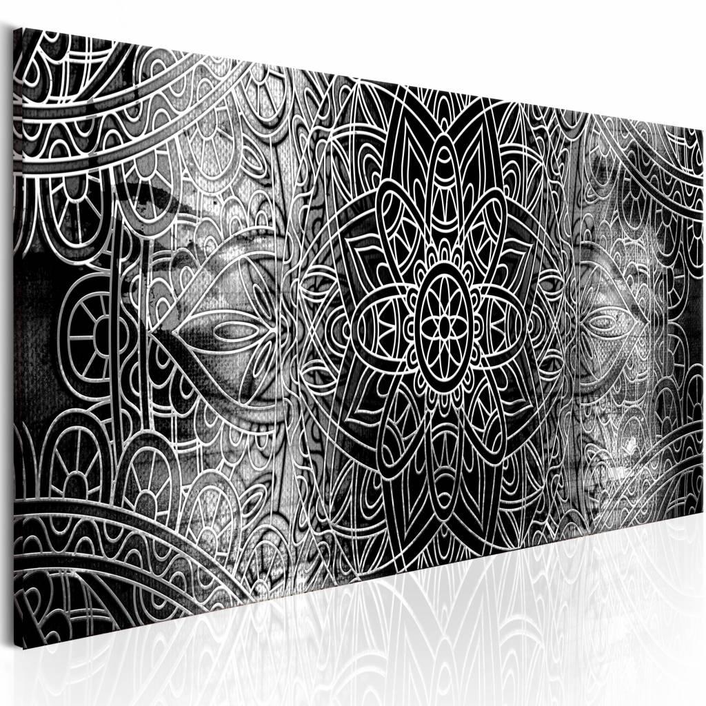 Schilderij - Mandala: Grijze Dieptes