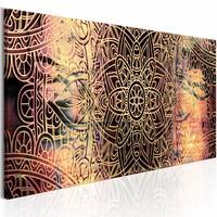 Schilderij - Mandala: Zonnige Poëzie , beige rood , 1 luik