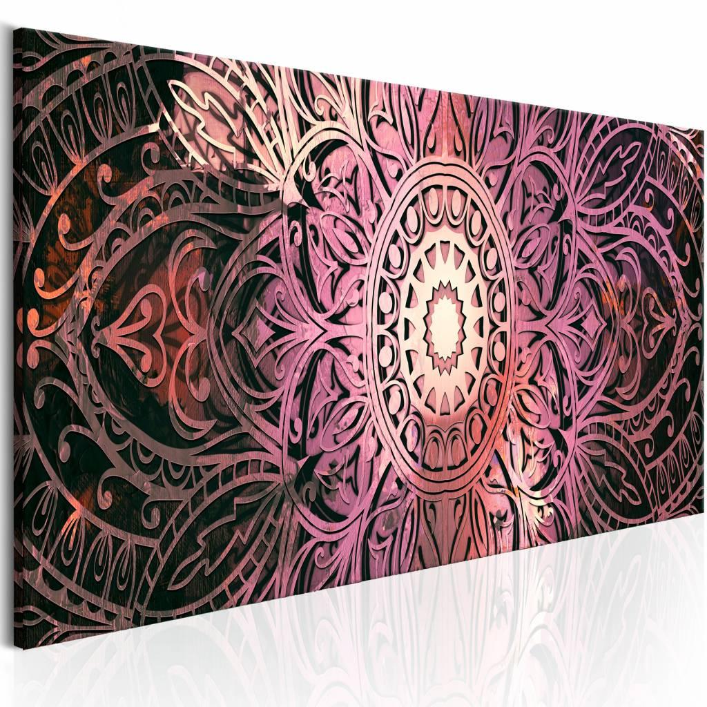 Schilderij - Robijn Rode Mandala , rood - 150x50 cm
