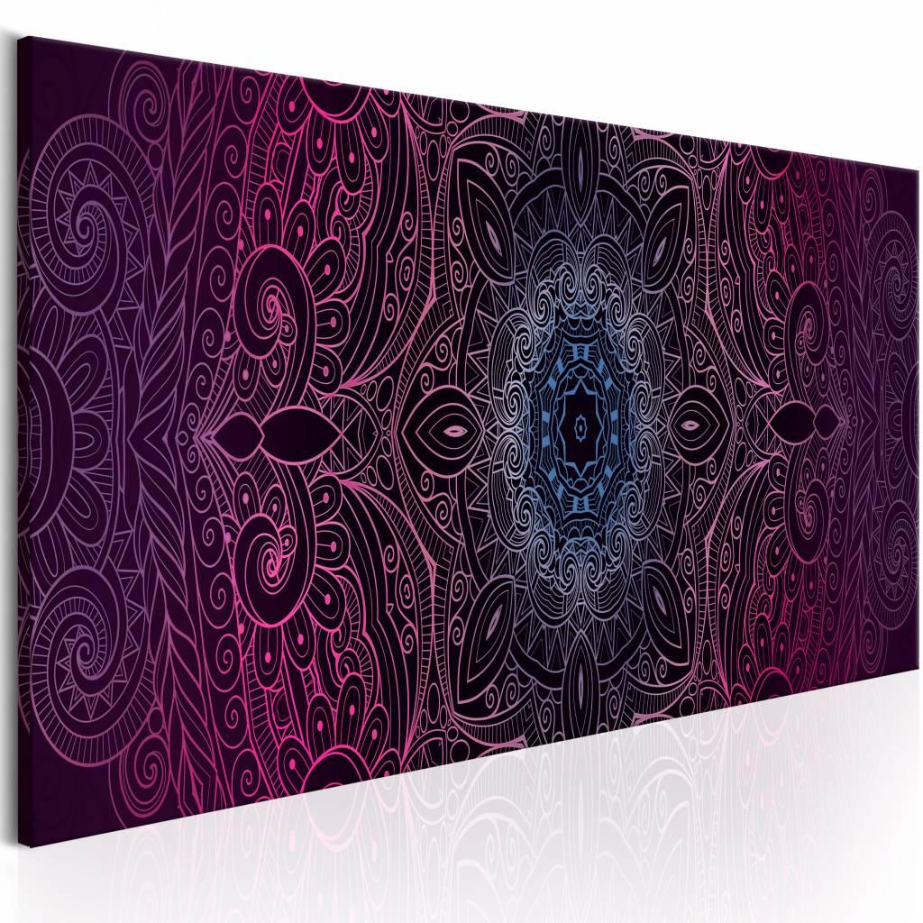 Schilderij - Paarse Mandala , paars - 150x50 cm