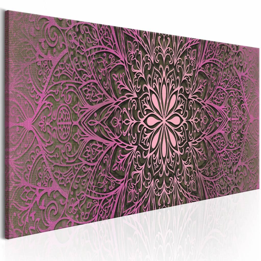 Schilderij - Roze verfijning , mandala , paars