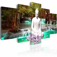 Schilderij - Nature Sanctuary , waterval , boeddha ,  groen bruin , 5 luik