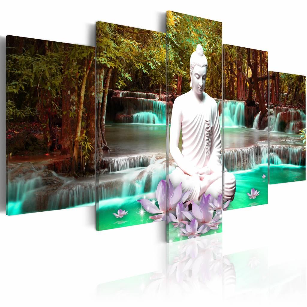 Schilderij - Nature Sanctuary , waterval , boeddha ,  groen bruin , 5 luik - 200x100 cm