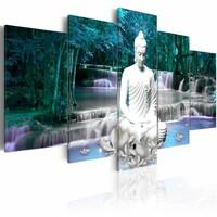 Schilderij - Azure Prayer , boeddha , blauw wit , waterval , 5 luik