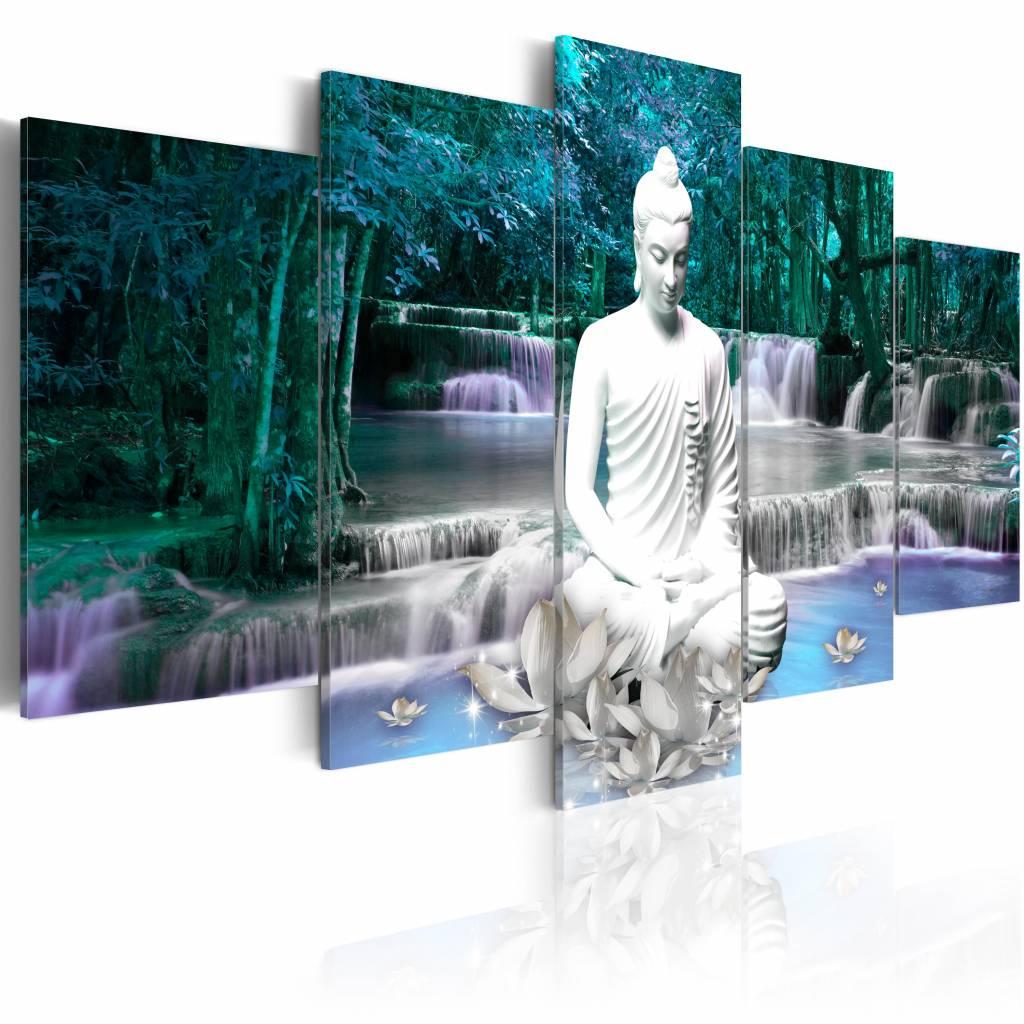 Schilderij - Azure Prayer , boeddha , blauw wit , waterval , 5 luik - 200x100 cm