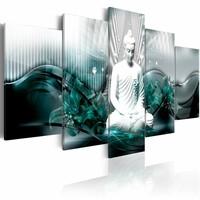 Schilderij - Azure Meditation , boeddha , blauw wit , 5 luik , 2 maten
