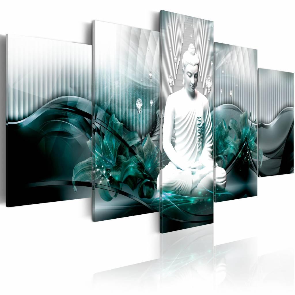 Schilderij - Azure Meditatie , boeddha , blauw wit , 5 luik - 200x100 cm