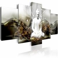 Schilderij - Observatie van de ziel, boeddha , wit bruin , 5 luik
