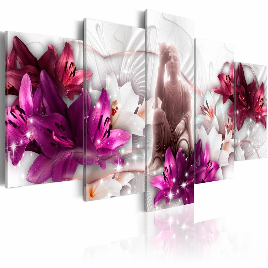 Schilderij - Balance of Mind , boeddha , wit paars , 5 luik , 2 maten