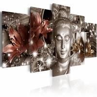 Schilderij - Jewel of Meditation , boeddha , brons zilver look , 5 luik