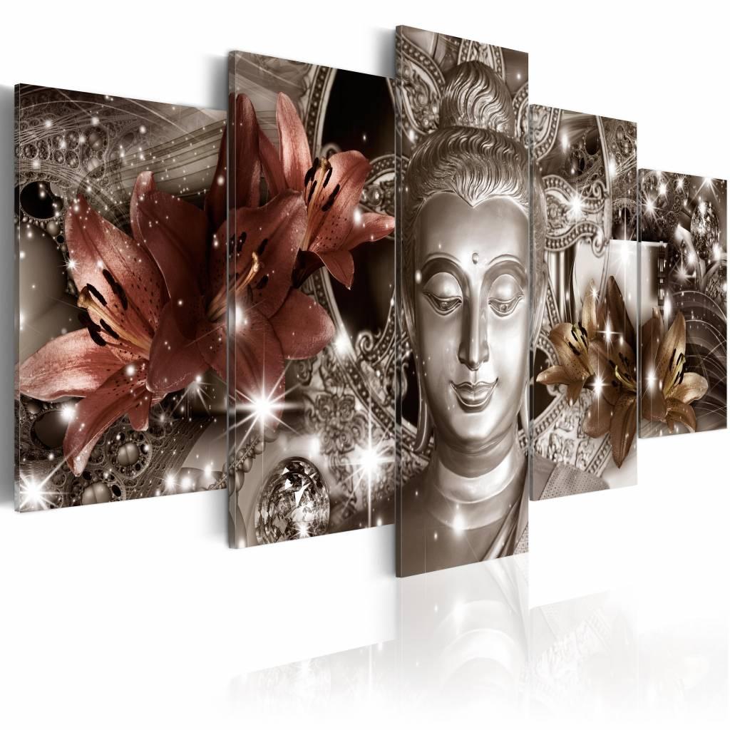Schilderij - Jewel of Meditation , boeddha , brons zilver look , 5 luik , 2 maten