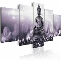 Schilderij - Finesse Inspiration , boeddha , grijs , 5 luik , 2 maten