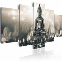 Schilderij -  mijmerende boeddha , 5 luik