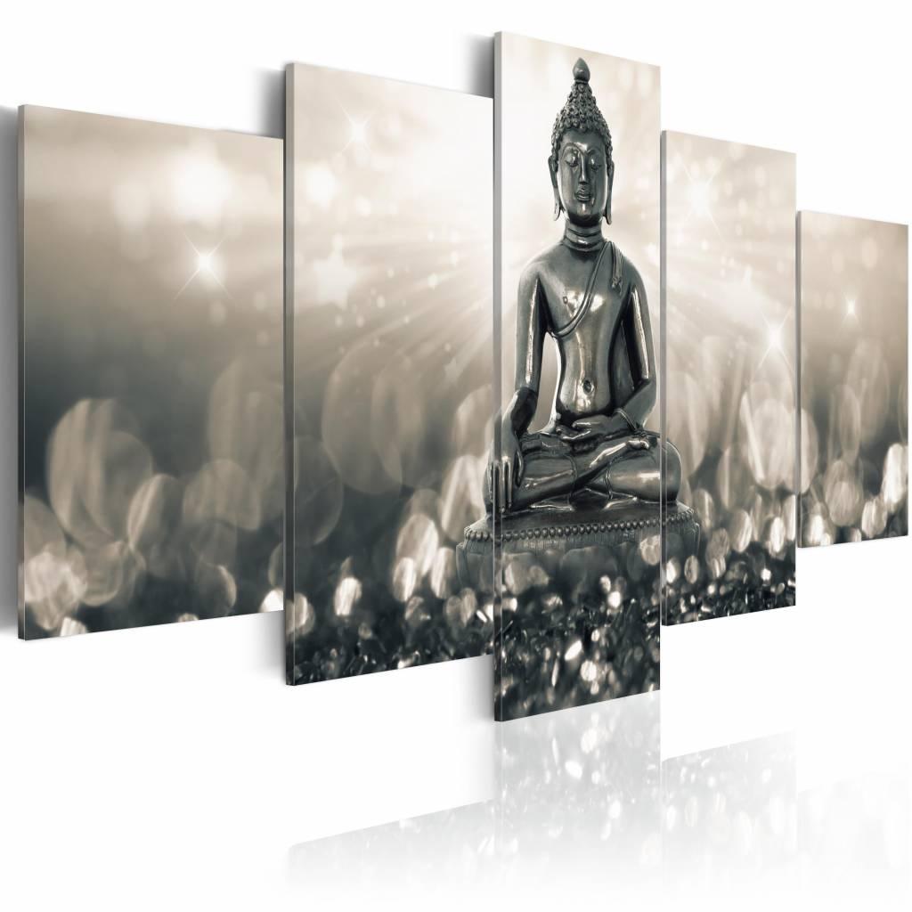 Schilderij - Deep in Reverie , mijmerende boeddha , grijs beige , 5 luik , 2 maten