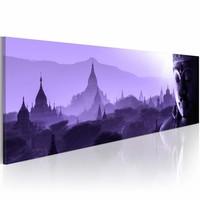 Schilderij - Purple Zen , paars uitzicht , 1 luik , 150x50
