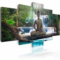 Schilderij - Boeddha - Voor een Waterval, Groen/Blauw/Bruin, 5luik