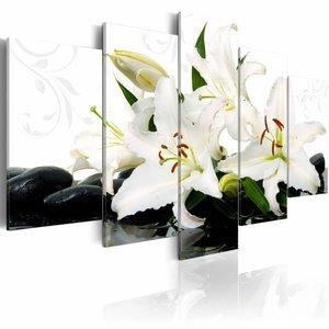 Schilderij - Lelies en Zen stenen, Wit, 5luik