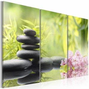 Schilderij - Zen compositie, Groen, 2 Maten, 3luik