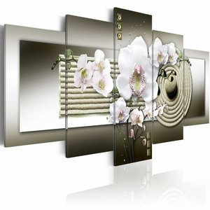 Schilderij - Zen Orchidee, Wit/Grijs, 2 Maten, 5luik