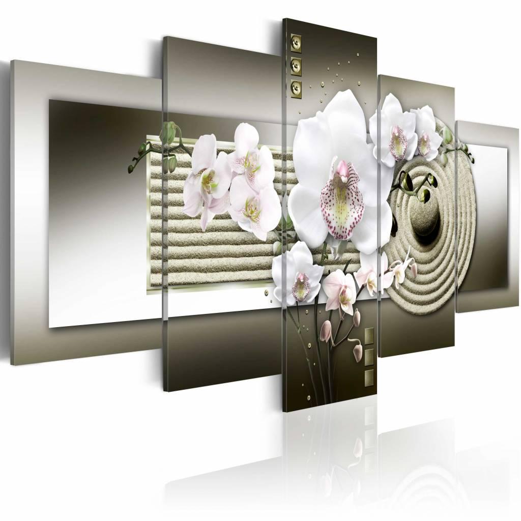 Schilderij - Zen Orchidee, Wit/Grijs, 5luik , premium print op canvas