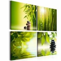 Schilderij - 4 keer Zen, Groen, 4luik , premium print op canvas