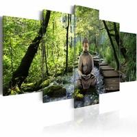 Schilderij - Boeddha - In het bos, Groen, 5luik , premium print op canvas